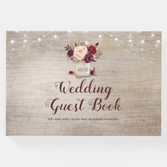 Rustic Mason Jar Floral Wedding Invitations Burgundy: Burgundy Floral Rustic Mason Jar Wedding Guest Book