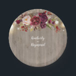 "Burgundy Floral Rustic Paper Plate<br><div class=""desc"">Wood,  burgundy flowers,  and string of lights rustic paper plates</div>"