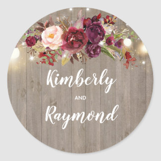 Burgundy Floral Rustic Wedding Classic Round Sticker