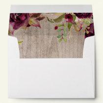 Burgundy Floral Rustic Wedding Envelope