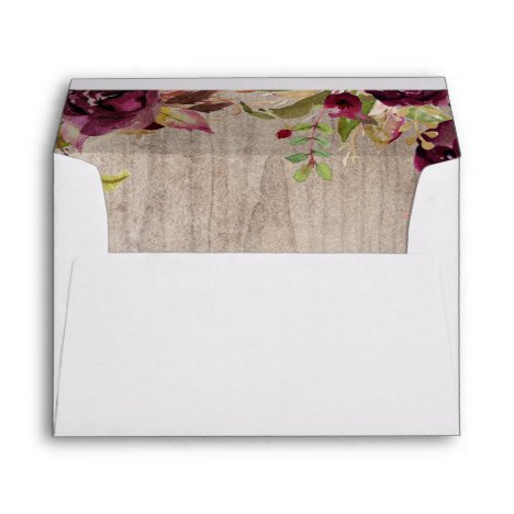 Burgundy Floral Rustic Wedding Envelope