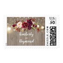 Burgundy Floral Rustic Wedding Postage