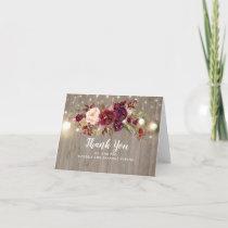 Burgundy Floral Rustic Wedding Thank You