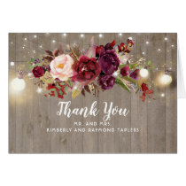 Burgundy Floral Rustic Wedding Thank You Card