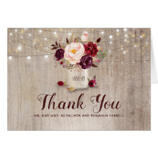 Burgundy Floral Rustic Wedding Thank You Card