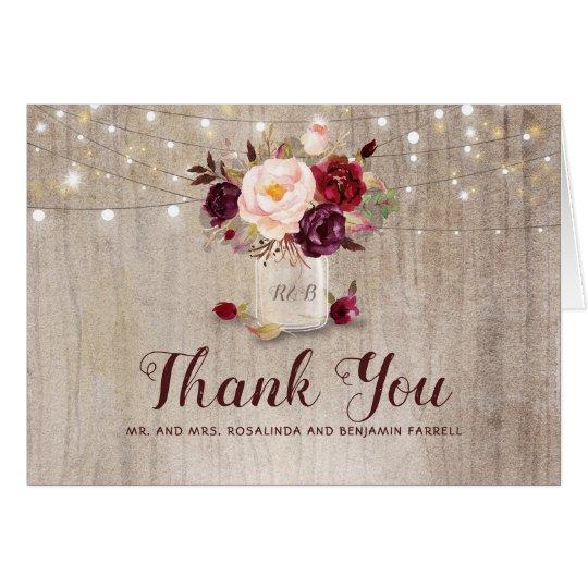 Burgundy Fl Rustic Wedding Thank You Card