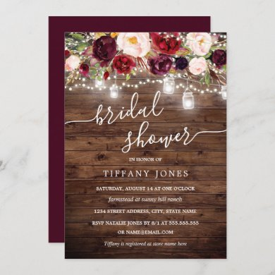 Burgundy Floral Rustic Wood Bridal Shower Invite