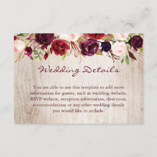 Burgundy Floral Rustic Wood Wedding Details Info Enclosure Card