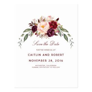 Burgundy Floral Save the Date Postcard