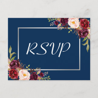 Burgundy Floral Silver Gray Navy Blue Wedding RSVP Invitation Postcard