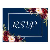 Burgundy Floral Silver Gray Navy Blue Wedding RSVP Postcard