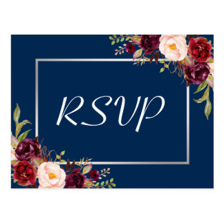 Burgundy Floral Silver Gray Navy Blue Wedding RSVP Postcard