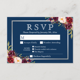 Burgundy Floral Silver Navy Blue Meal Options RSVP