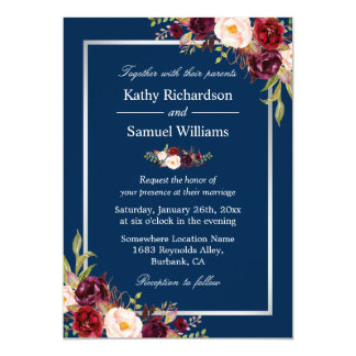 Burgundy Floral Silver Navy Blue Winter Wedding Invitation