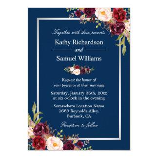 Burgundy Floral Silver Navy Blue Winter Wedding Invitation