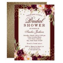 Burgundy floral Sparkle Bridal Shower Invitation