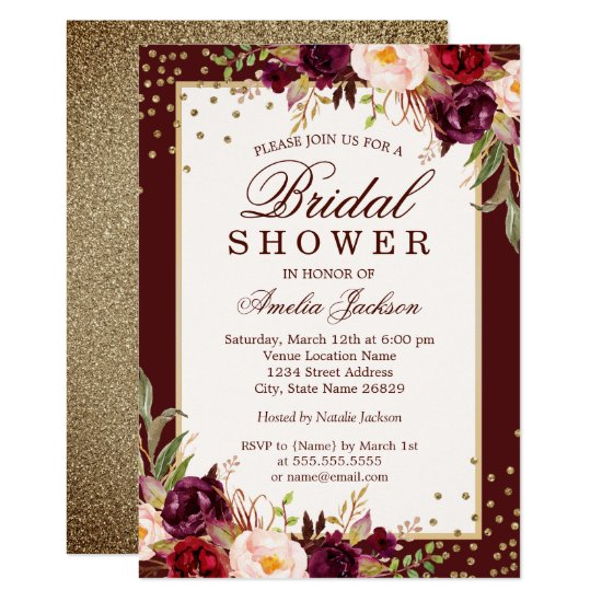 600d8e1afab Burgundy floral Sparkle Bridal Shower Invitation
