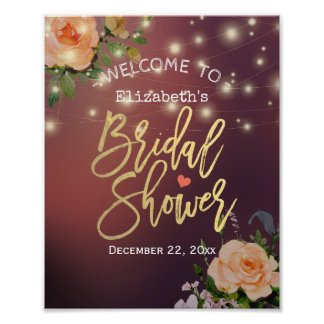 Burgundy Floral String Light Bridal Shower Welcome Poster