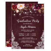 Burgundy Floral String Light Lace Graduation Party Card