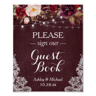 Burgundy Floral String Lights Lace Sign Guestbook