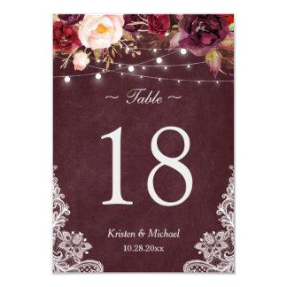 Burgundy Floral String Lights Lace Table Number