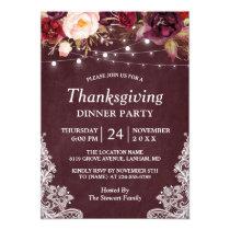 Burgundy Floral String Lights Thanksgiving Dinner Invitation