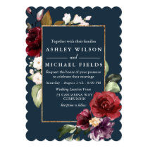 Burgundy Floral Teal Green Modern Wedding Invitation