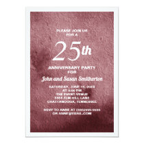 Burgundy Floral Textured-Look 25th Anniversary Card