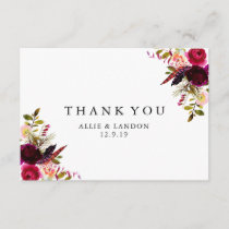 Burgundy Floral Thank You Card