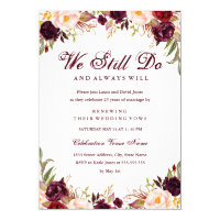 Burgundy Floral Vow Renewal Anniversary Invitation