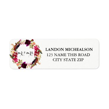 Beach Themed Burgundy Floral Watercolor Address Labels