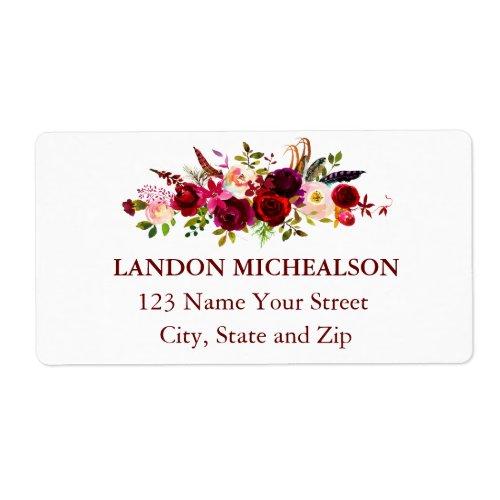 Burgundy Floral Watercolor Address Labels