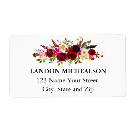 Burgundy Floral Watercolor Address Labels
