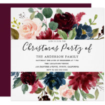 Burgundy Floral Watercolor Family Christmas Party Invitation