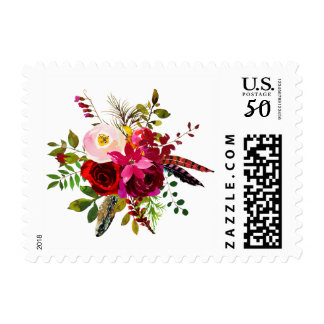 Burgundy Floral Watercolor Personalized Stamps