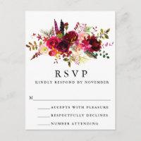 Burgundy Floral Watercolor RSVP Postcard