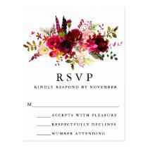Burgundy Floral Watercolor RSVP Postcard