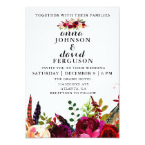 Burgundy Floral Watercolor Wedding Invitation