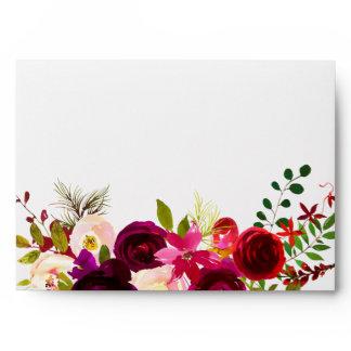 Burgundy Floral Watercolor Wedding Invitation Envelope