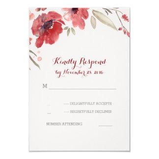 Burgundy Floral Watercolor Wedding Rsvp Cards
