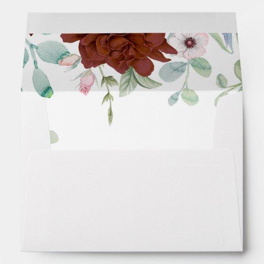 burgundy floral watercolors elegant wedding envelope zazzle com