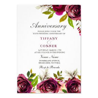 Burgundy Floral Wedding Anniversary invitation