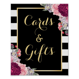 Burgundy Floral Wedding Cards and Gifts Sign