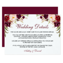 Burgundy Floral Wedding Details Insert Card
