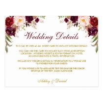 Burgundy Floral Wedding Details Insert Card