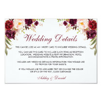 Burgundy Floral Wedding Details Insert Card W