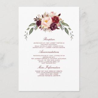 Burgundy Floral Wedding Information Guest Enclosure Card