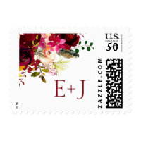 Burgundy floral wedding initials postage 3979
