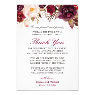 Burgundy Floral Wedding Place Setting Thank You Invitation