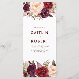 Burgundy Floral Wedding Programs